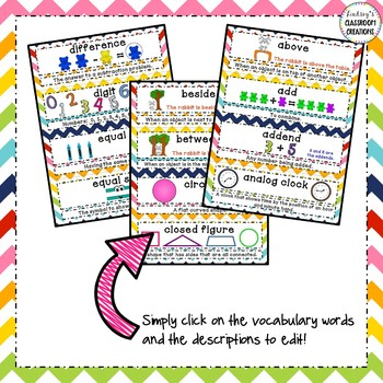 Math Word Wall - EDITABLE!  1st Grade - Common Core Aligned - Rainbow Chevron