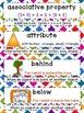 Math Word Wall - 1st Grade - Common Core Aligned - Rainbow Square Theme