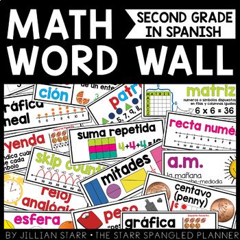 Math Word Wall 2nd Grade (Common Core Aligned) SPANISH | ESPAÑOL