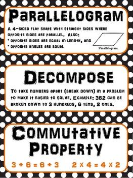 Math Word Wall 3rd-6th BUNDLE Common Core - Polka Dots Black White