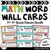 Math Word Wall 3rd-6th Grade BUNDLE - Editable - Chevron