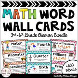 Math Word Wall Editable 3rd-6th Grade BUNDLE - Chevron
