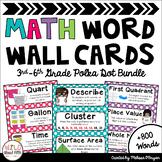 Math Word Wall Editable 3rd-6th Grade BUNDLE - Polka Dots