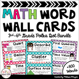 Math Word Wall 3rd-6th Grade BUNDLE - Polka Dots