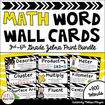 Math Word Wall 3rd-6th Grade BUNDLE - Zebra