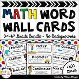 Math Word Wall 3rd-6th Grade BUNDLE - Editable - No Backgrounds