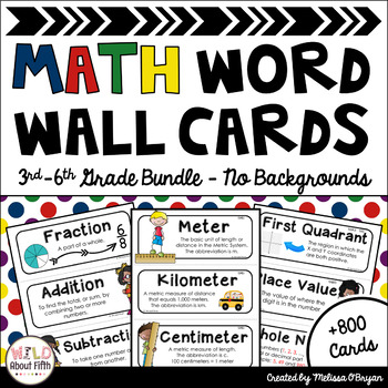 Math Word Wall 3rd-6th Grade BUNDLE - No Backgrounds