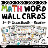 Math Word Wall Editable 3rd-6th Grade BUNDLE - Rainbow Colors