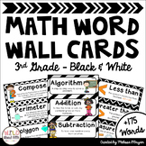 Math Word Wall 3rd Grade - Editable - Black & White