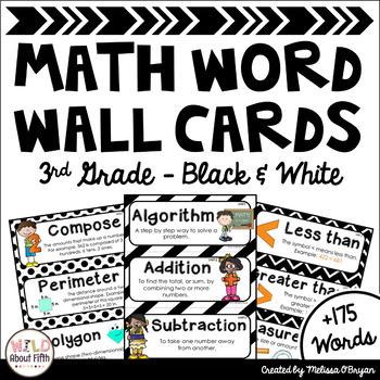Math Word Wall Cards (3rd Grade - Black & White)