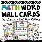 Math Word Wall Cards (3rd Grade - Rainbow Colors)