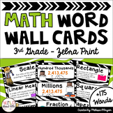 Math Word Wall Editable (3rd Grade - Zebra Theme)