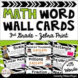 Math Word Wall Cards (3rd Grade - Zebra Theme)