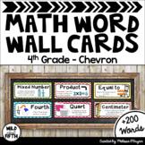 Math Word Wall Cards (4th Grade - Chevron)