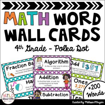 Math Word Wall Editable (4th Grade - Polka Dots)