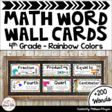 Math Word Wall Cards (4th Grade - Rainbow Colors)