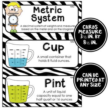 Math Word Wall Cards (4th Grade - Zebra)