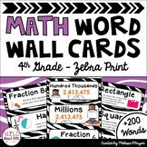 Math Word Wall Editable (4th Grade - Zebra)