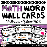Math Word Wall 4th Grade - Editable - Zebra Print