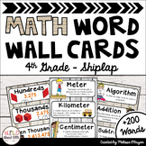 Math Word Wall 4th Grade - Editable - Shiplap