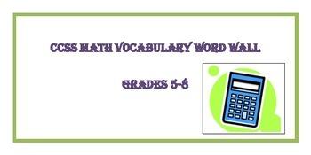 Math Word Wall 5th-8th Grade Bundle Common Core Academic V