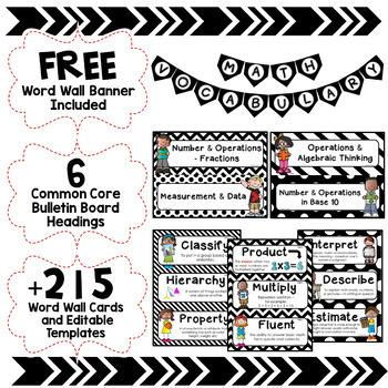 Math Word Wall Editable (5th Grade - Black & White)