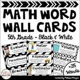 Math Word Wall 5th Grade - Editable - Black & White