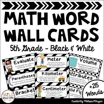 Math Word Wall Cards (5th Grade - Black & White)