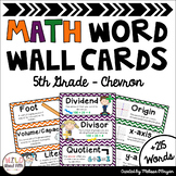 Math Word Wall 5th Grade - Editable - Chevron