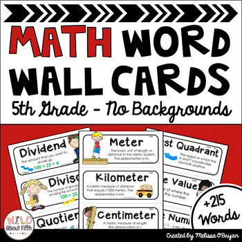 Math Word Wall Editable (5th Grade - No Backgrounds)