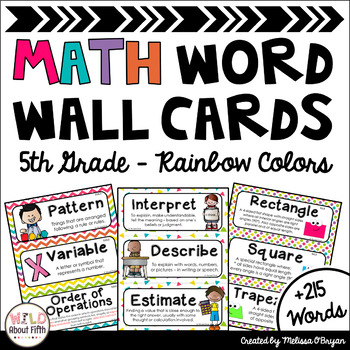 Math Word Wall Editable (5th Grade - Rainbow Colors)