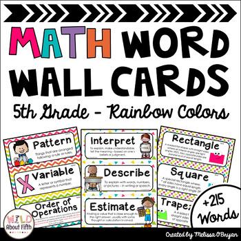 Math Word Wall 5th Grade - Editable - Rainbow Colors