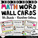 Math Word Wall Cards (5th Grade - Rainbow Colors)