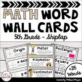 Math Word Wall 5th Grade - Editable - Shiplap
