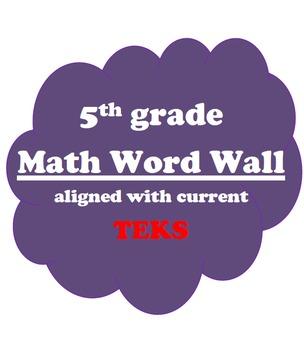 5th grade Math Vocabulary Word Wall Texas TEKS