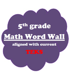 5th grade Math Vocabulary Word Wall Texas TEKS