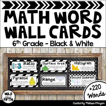 Math Word Wall Editable (6th Grade - Black & White)