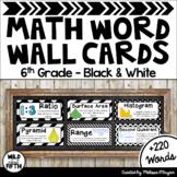 Math Word Wall (6th Grade - Black & White)