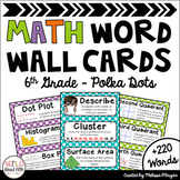 Math Word Wall 6th Grade - Editable - Polka Dots