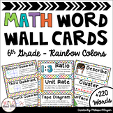 Math Word Wall 6th Grade - Editable - Rainbow Colors