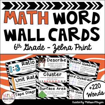 Math Word Wall Cards (6th Grade - Zebra Theme)