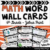 Math Word Wall Editable (6th Grade - Zebra Theme)