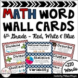 Math Word Wall 6th Grade - Editable - Red, White & Blue (Nautical/Patriotic)