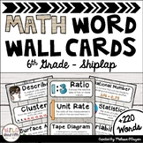 Math Word Wall 6th Grade - Editable - Shiplap