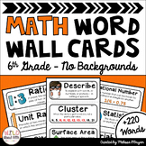 Math Word Wall 6th Grade - Editable - No Backgrounds