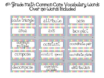 Math Word Wall 6th grade Common Core Aligned CCSS