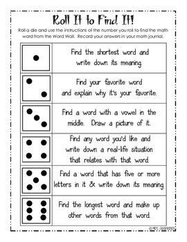 Math Word Wall Activities