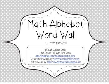 Math Word Wall Alphabet...with pictures
