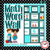 CLASSROOM DECOR Math Vocabulary Focus Wall Aqua Black Theme Classroom Decor