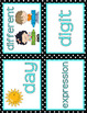 CLASSROOM DECOR: Math Word Wall Headers, Aqua & Black Theme